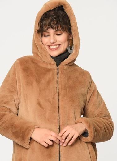Loves You Kapüşonlu Fermuarlı Peluş Kaban Camel